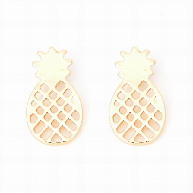 High Quality Best Friend Gift Minimalist Decoration Tiny Cute Pineapple Stud Earrings For Women Men BFF Jewelry