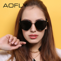 AOFLY Fashion Cat Eye Sunglasses Original Brand Sunglasses Women Shades Female Elegant Design Eyewears Coating Mirror
