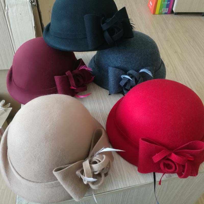 QDKPOTC 2018 новая осенне-зимняя мягкая фетровая шляпа женские фетровые шерстяные войлочные купольные Цветочные котелки женские фетровые шляпы