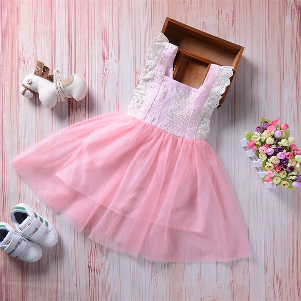 Newborn Kid Baby Girls Sleeveless Lace Mesh Puff Dress  Princess Dress Summer