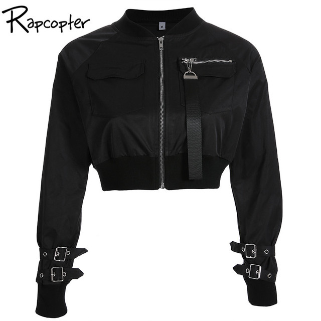 Rapcopter Outerwear Casaco Bomber Jacket Mulheres Patch Bolso da Jaqueta de Manga Longa Outono Cintura Hig Fivela Zíper Streetwear Jaqueta