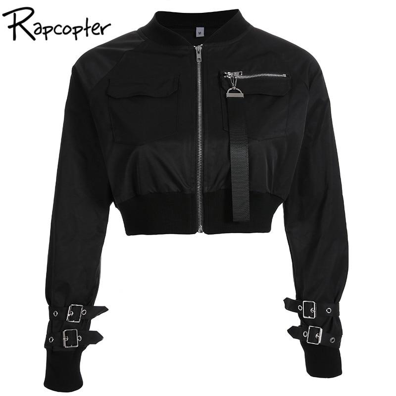 Rapcopter Outerwear Coat Bomber Jacket Women Patch Long Sleeve Autumn Jacket Pocket Hig Waist Buckle Zipper Innrech Market.com
