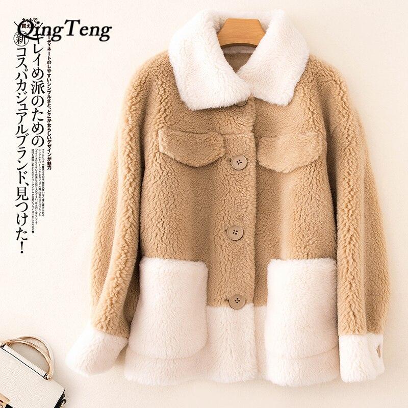 30 laine Teddy manteau femme fausse fourrure femmes Teddy Bear vestes Shaggy dames Patchwork réel fourrure manteau russie chaud Festival vêtements