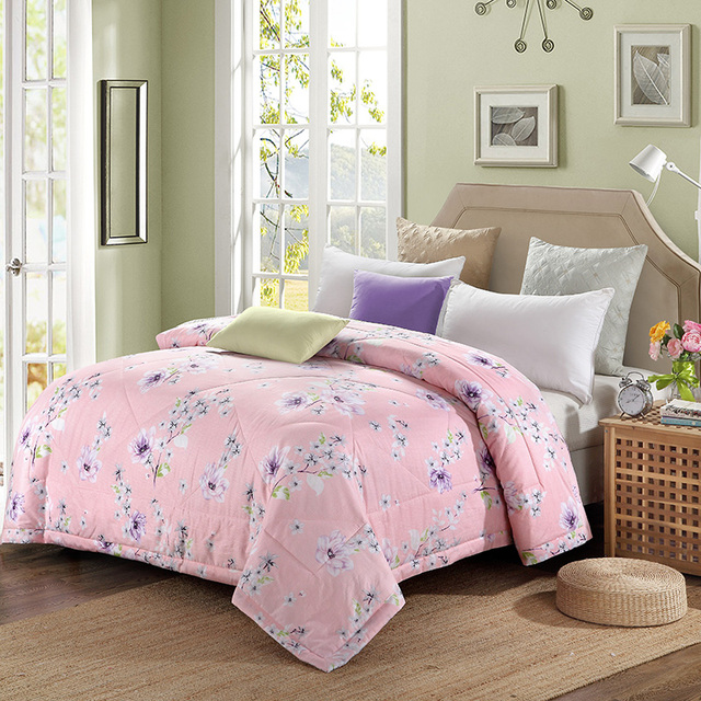 Cotton Home Textiles Lavender Plum Blossom Pattern Fabric Summer Quilt Air Conditioning Thin Duvets Print