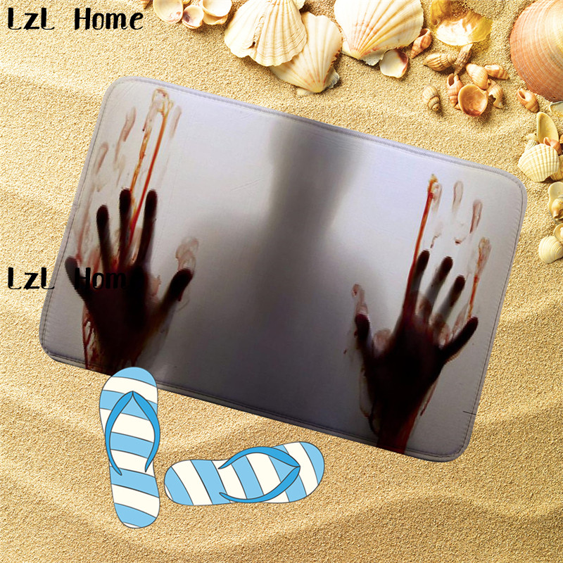 LzL Home 3D Blood Fingerprint Printed Bathroom Kitchen Carpets Doormats Floor Mat For Li ...