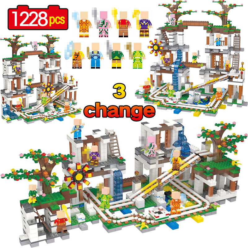 New Legoing Minecrafted The Mine 1228Pcs Cave Mine Slide Bricks My World Building Blocks Toys For Children Christmas Gift