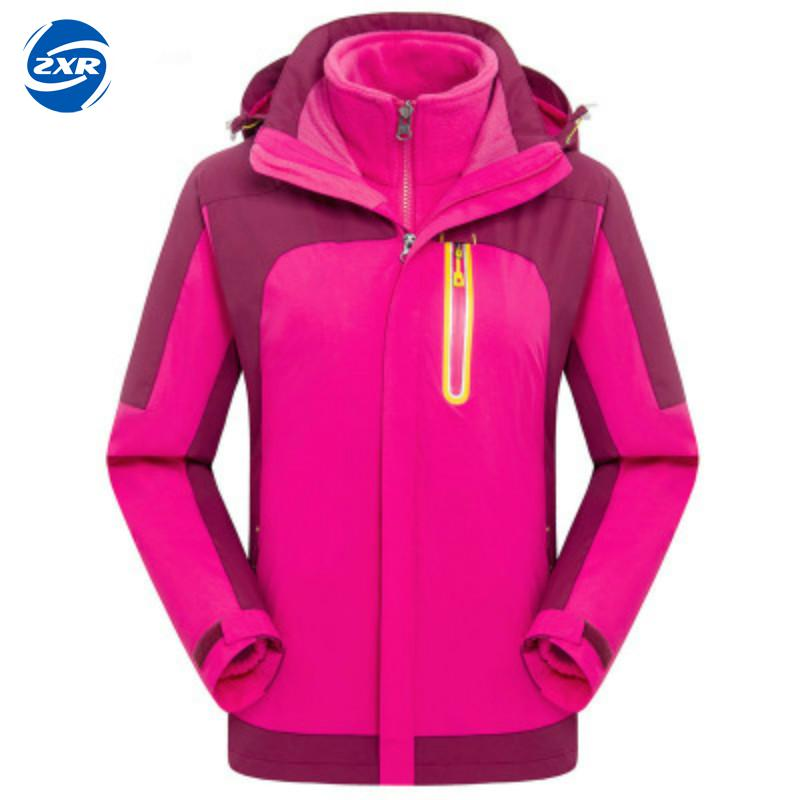 Mountain Women Winter 2 Pieces Softshell Fleece Winter Jackets Outdoor Sports Waterproof Thermal Hiking Skiing Female Coats 2017 merrto womens fleece hiking jackets mountain clothing thermal color blue pink rose green for women free shipping mt19155