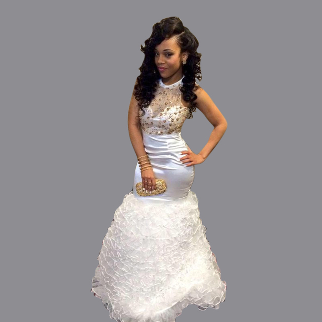 f8cde6f9d9c 2016 White And Gold O-neck Beaded Rhinestones Long Mermaid Prom Dresses  Ruffles Dress For Graduation Backless Party Dress PG005