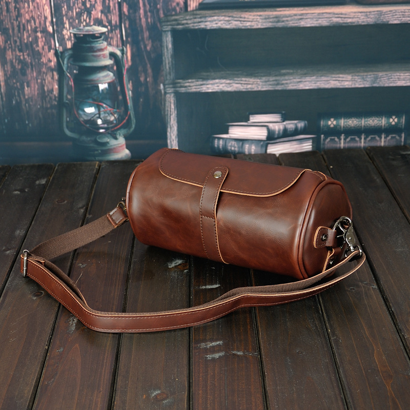 Mens Gym Travel Leather Bag Vintage PU Leather Weekend Bag Hand Luggage For Men Large Capacity Portable Male Shoulder Bags