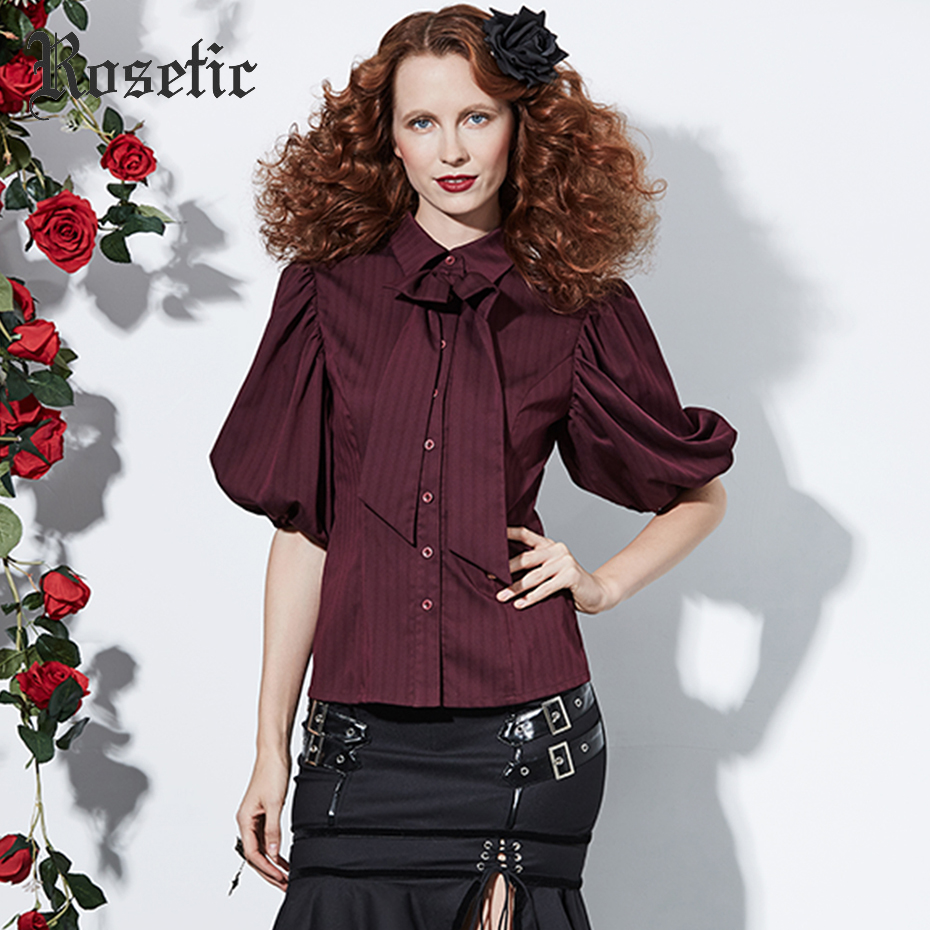Rosetic Bowknot Tie   Shirt   Women Office New Style Autumn Fashion Lantern Half Sleeve Lapel Collar Single-Breasted   Blouses     Shirts