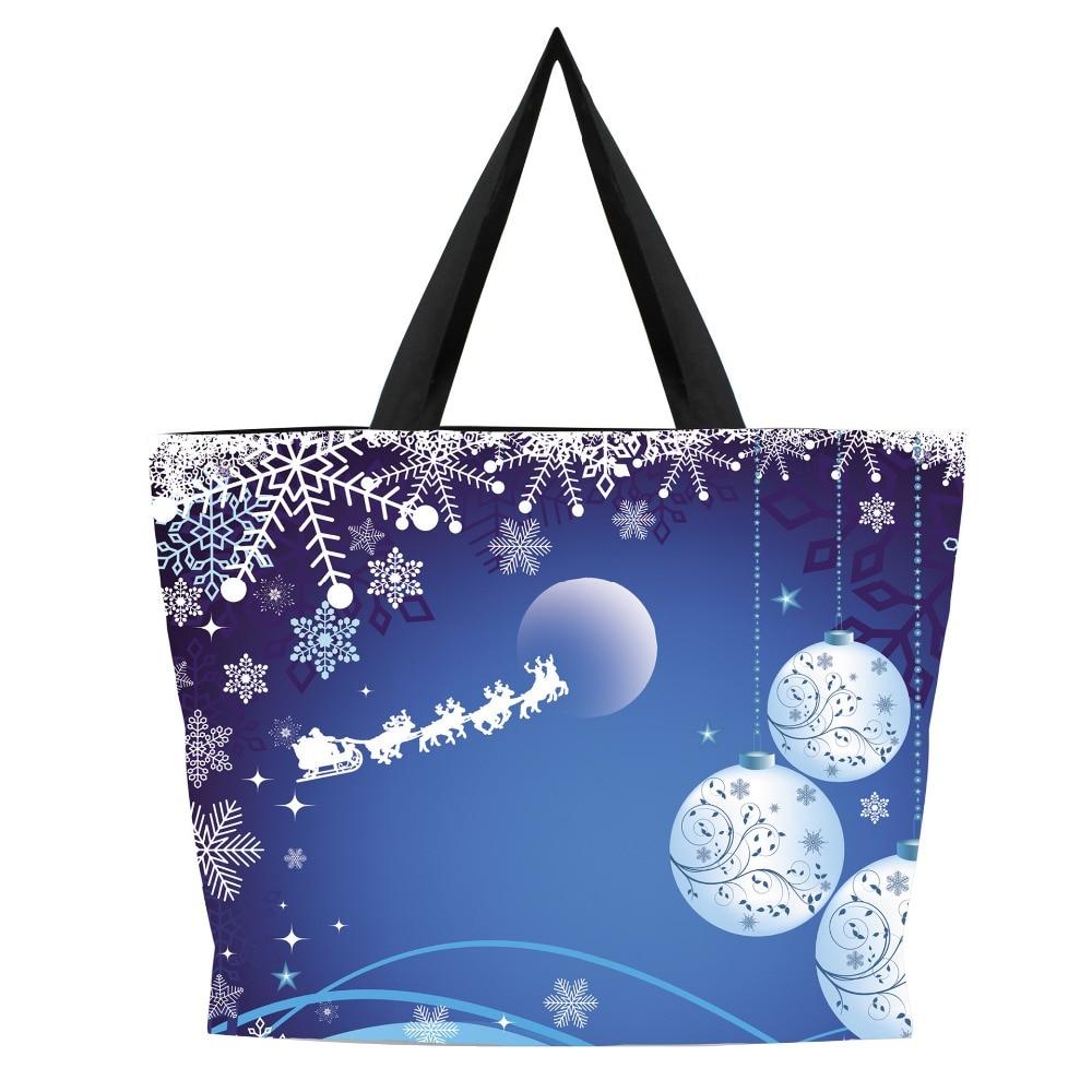 3D Printing Snowflake Canvas Tote Eco Shoulder Bags Handbags Shopper Bag
