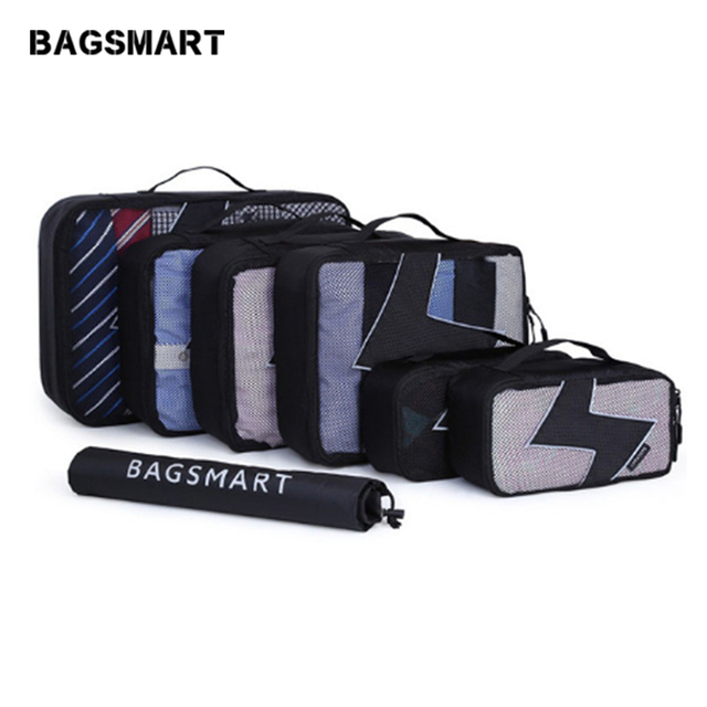 BAGSMART 7 Pcs/Set Unisex Nylon Packing Cubes For Clothes Travel Bags For Shirts Waterproof Duffle Bag Organizers with Shoes Bag
