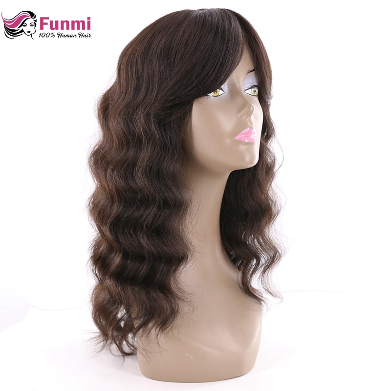 Funmi Brazilian Loose Wave Human Hair Wigs With Bangs 150% Density Long Human Hair Wigs For Black Women Natural Color Non-Remy