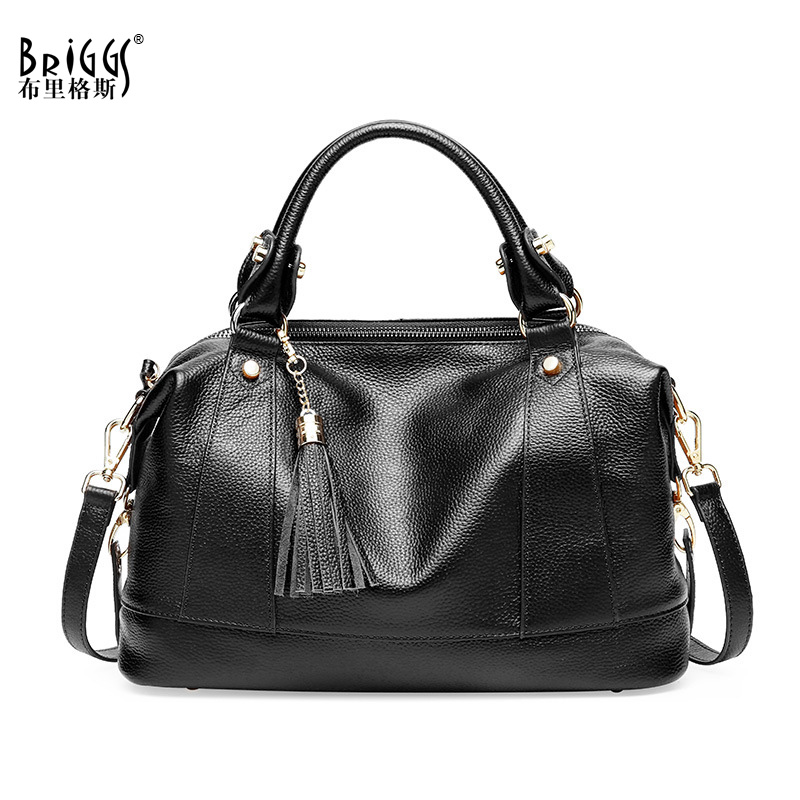 BRIGGS Brand Tassel Women Handbag Genuine Leather Tote Bag Female Embossed Leather Shoulder Bags Ladies Handbags Messenger Bag цена