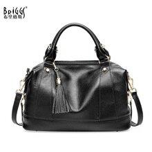 BRIGGS Brand Tassel Women Handbag Genuine Leather Tote Bag Female Embossed Leather Shoulder Bags Ladies Handbags Messenger Bag цены онлайн