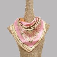 Rosa quattro colori di grande formato paisley stampato sciarpa di seta 100% pure reale sciarpa di seta 90x90 cm sciarpa di seta donne wrappy scialle