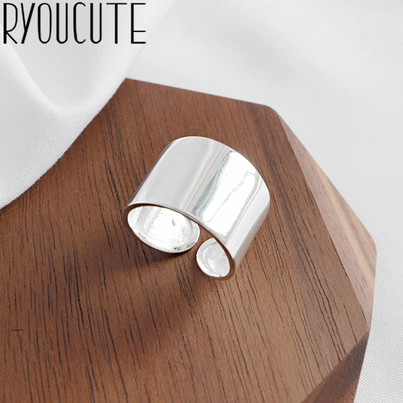 RYOUCUTE Real Pure Silver Color Jewelry Korean Simple Big Smooth Rings for Women Wedding Finger Open Ring Anillos Anelli