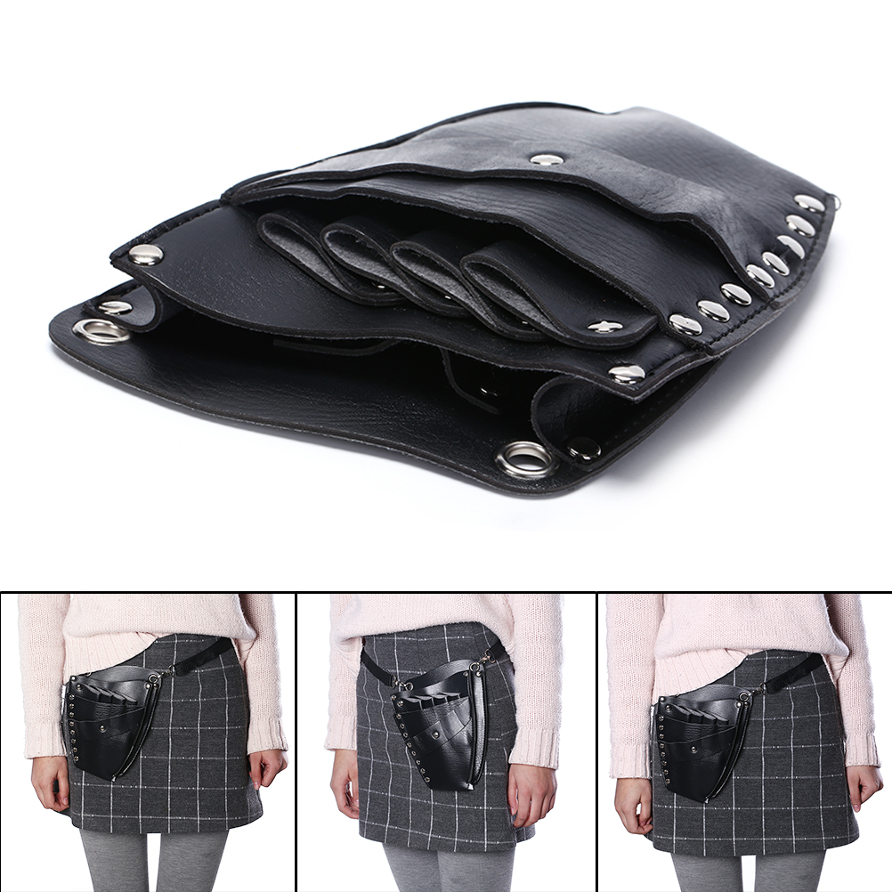 1PC Hairdressing Holster Pouch Holder Case PU Leather Barber Hair Scissor Bag Rivet Clips Bag With Waist Shoulder Belt Hair Tool