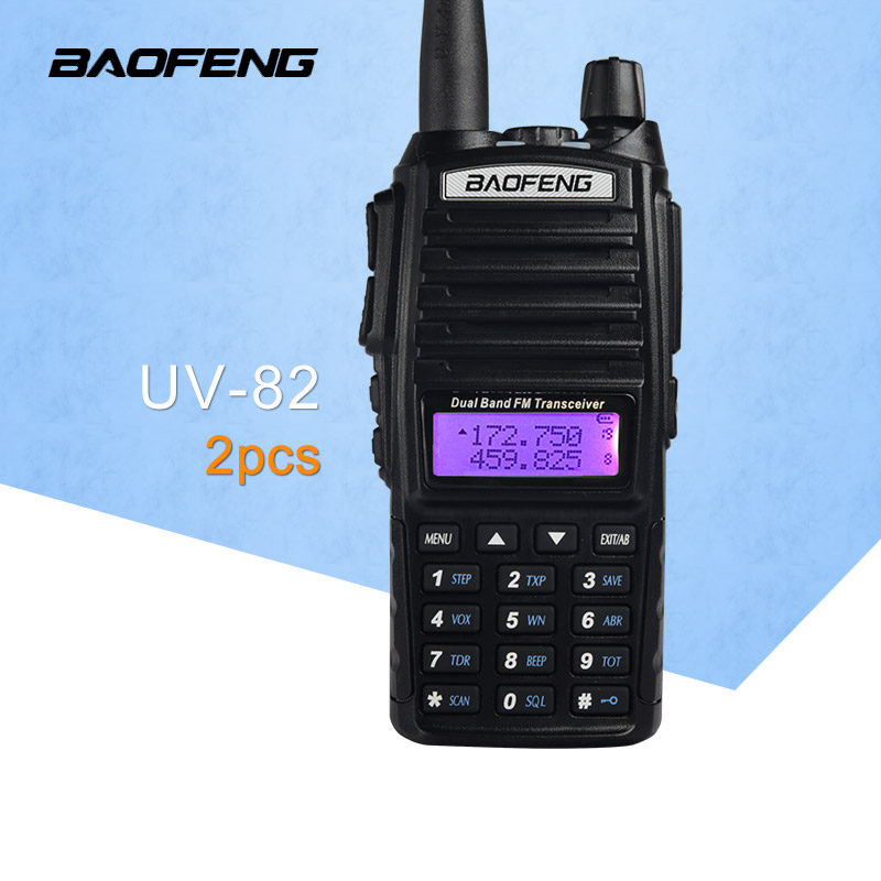(2 STKS) BaoFeng UV-82 Dual-Band 136-174 / 400-520 MHz FM Ham Tweerichtings Radio, Transceiver, baofeng 82 walkie-talkie