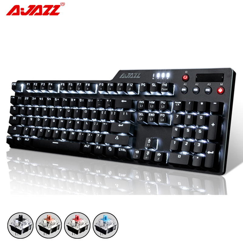 New 104 Keys Ajazz AK35i Wired White LED Backlit Usb Ergonomic illuminated Mechanical Gaming Keyboard Gamer For Laptop Computer professional 29 keys programmable mechanical usb wired one hand gaming keyboard rgb led backlit backlight for pro gamer