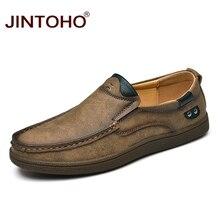 JINTOHO de los hombres de la marca de moda zapatos de lujo de cuero genuino de los hombres zapatos casuales de los hombres zapatos de hombre zapatos de cuero resbalón en los holgazanes de los hombres