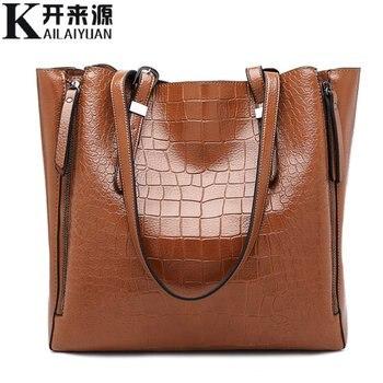 SNBS 100% Genuine leather Women handbags 2018 New Fashion one shoulder portable ladies big bag multi-function crocodile pattern