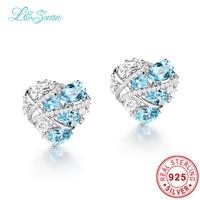 L & zuan עגילים אופנתיים 5.36ct אבן הטבעית טופז הכחולה אלגנטי עגילי קליפ עגילי תכשיטי כסף סטרלינג לנשים