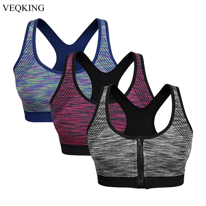 US Women Padded Sports Bra Yoga Gym Front Zip Workout Jogging Vest Shockproof LP