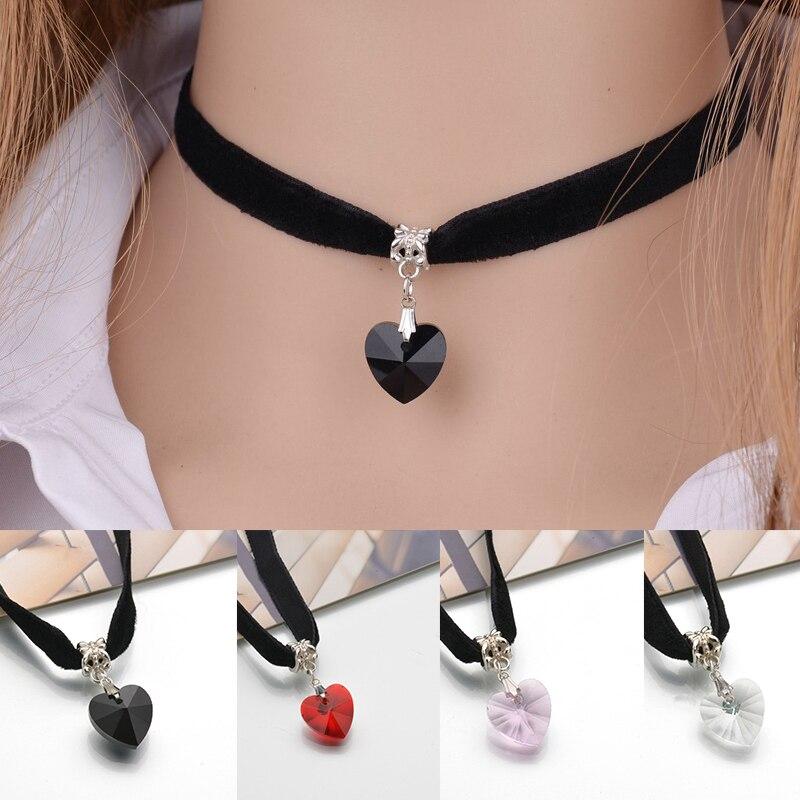 Moda gargantilha de veludo coração pingente de cristal colares preto fita clavícula corrente colar simples coração veludo feminino jóias