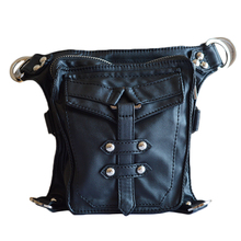Punk Fashion Gothic Retro Rock PU Leather Shoulder bag  Men Women Waist Bag Cross Shoulder Bag