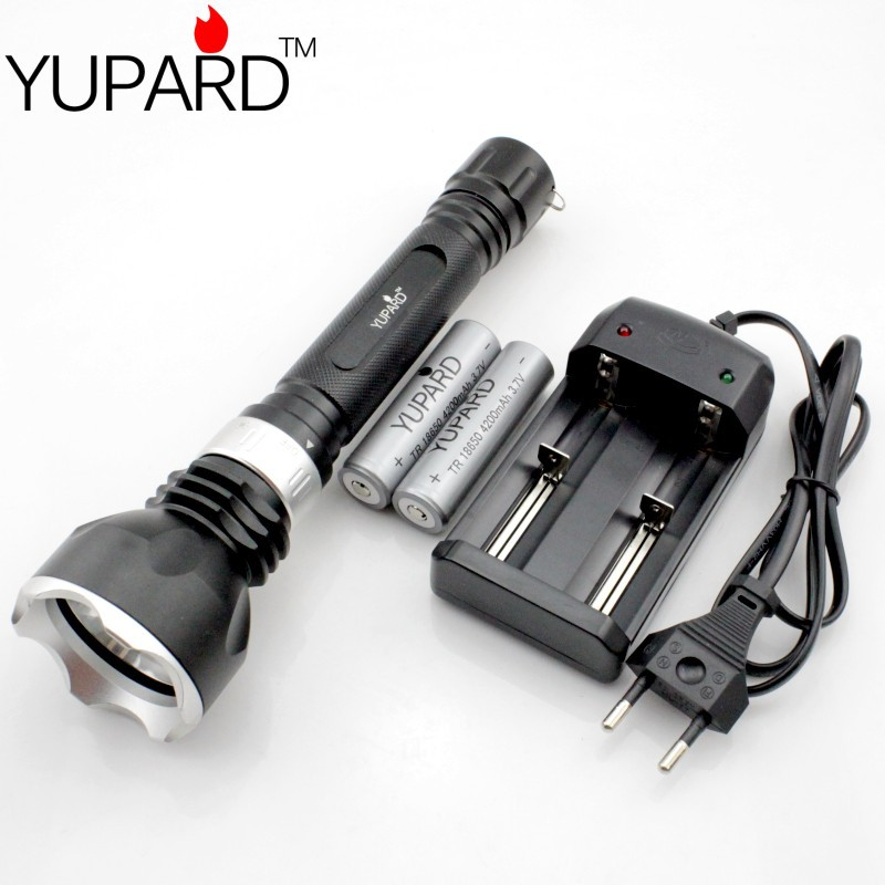 ФОТО YUPARD CREE XM-L L2 LED T6 LED Waterproof underwater  Diving diver Flashlight white yellow light+2*18650 4200mAh Battery+Charger