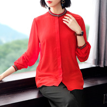 цена на 100% Silk Red Stand Neck Single Breasted Long Sleeve Straight Blouse 2019 New Women Spring Summer Office Lady Work Shirts