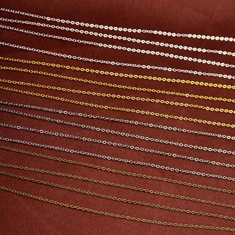 5 Meters/lot Gold Silver Rhodium Antique Bronze Color 1.5mm Copper Link Bulk Chain for DIY Necklace Jewelry Making Materials 20pcs lot free shipping antique silver gold mama connectors bracelet link 37x8mm k05129