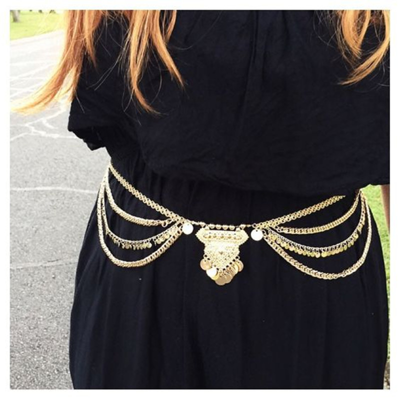 Vintage Fashion Gypsy TurkishMetal menjuntai Multilayer payet rantai - Perhiasan fashion