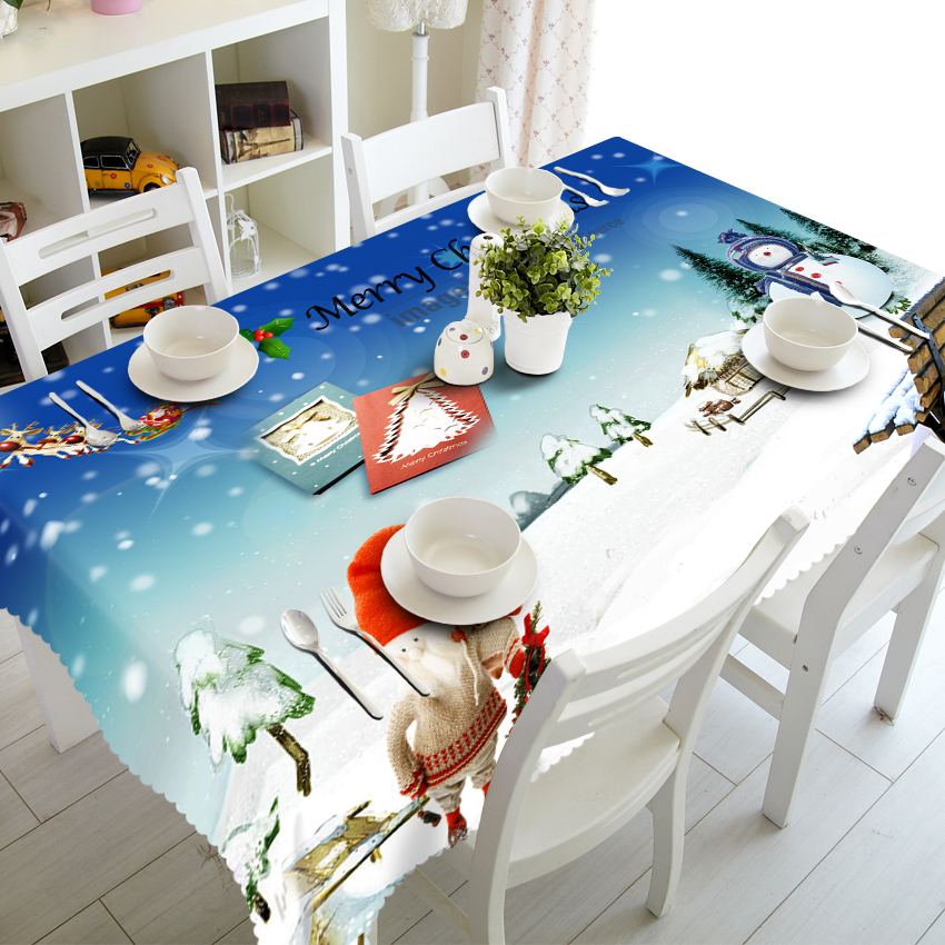 Senisaihon 3D Table cloth Christmas Eve Snowman Pattern Waterproof cloth Thicken Rectangular Children Tablecloth Home Textiles in Tablecloths from Home Garden