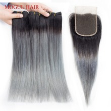 MOGUL HAIR T 1B Dark Grey Ombre Human Hair 2/3 Bundles with Closure Peruvian Straight Hair Bundles Remy Hair Weave Extension
