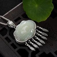 Real Silver 925 Tassel Pendant Stone Natural White Jade Engraved Lotus Flower Amulet Pendants For Girls Women Gift