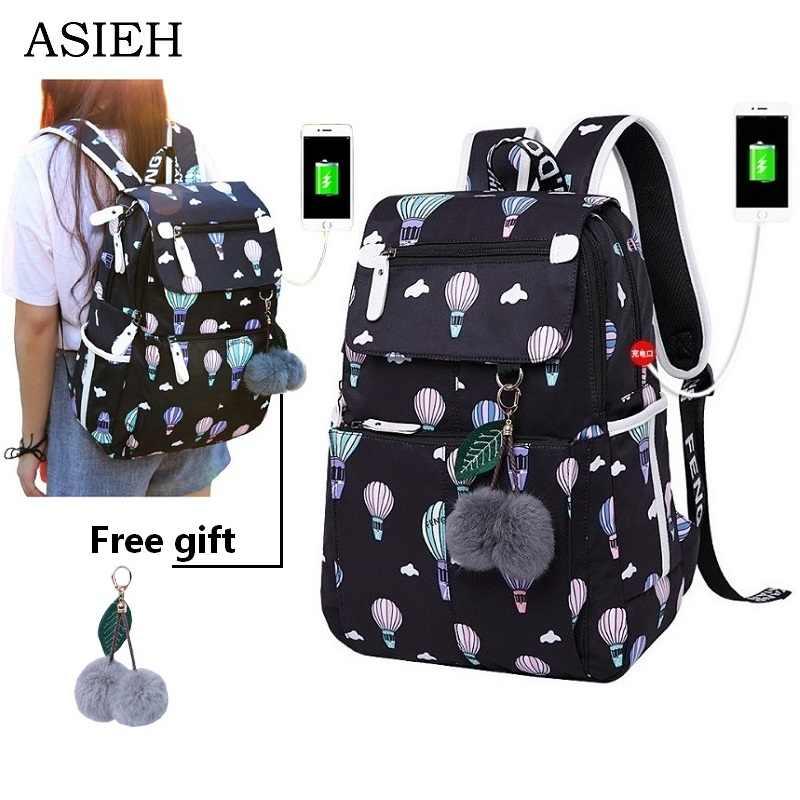 59351ca97461 Школьные сумки для девочек-подростков, непромокаемые рюкзаки для ноутбука, модная  школьная сумка,