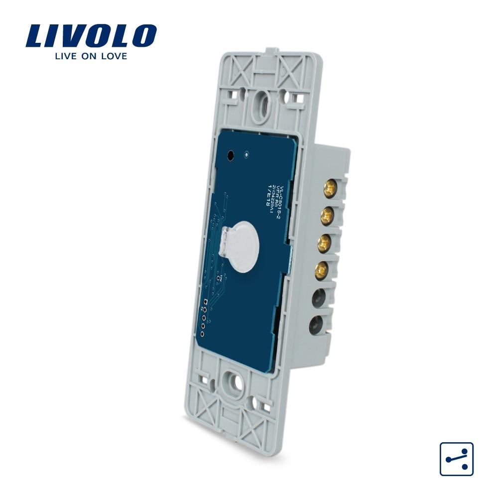 Livolo US Base de pantalla táctil interruptor de pared, 1 Gang 2 manera, AC 110 ~ 250 V, sin panel de vidrio, VL-C501S