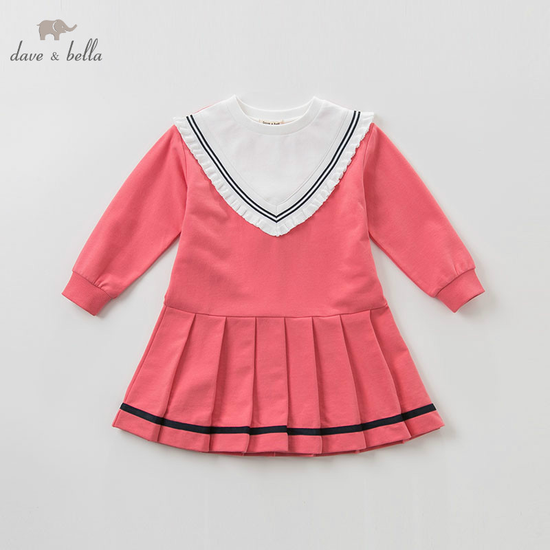 DBK9444 dave bella baby girls dress 5 13Y Long sleeve spring dresses kids girls dress children