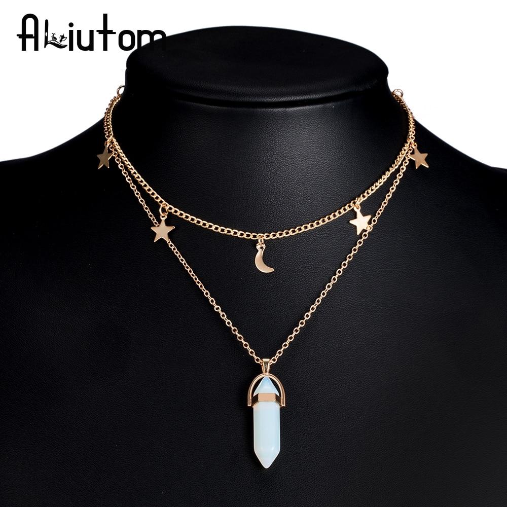 ALIUTOM 8 Colors Big Stone Moon & Star Pendant Tattoo Choker Necklace for Women Geometric Bohemian Necklaces Chain Boho Jewelry(China)