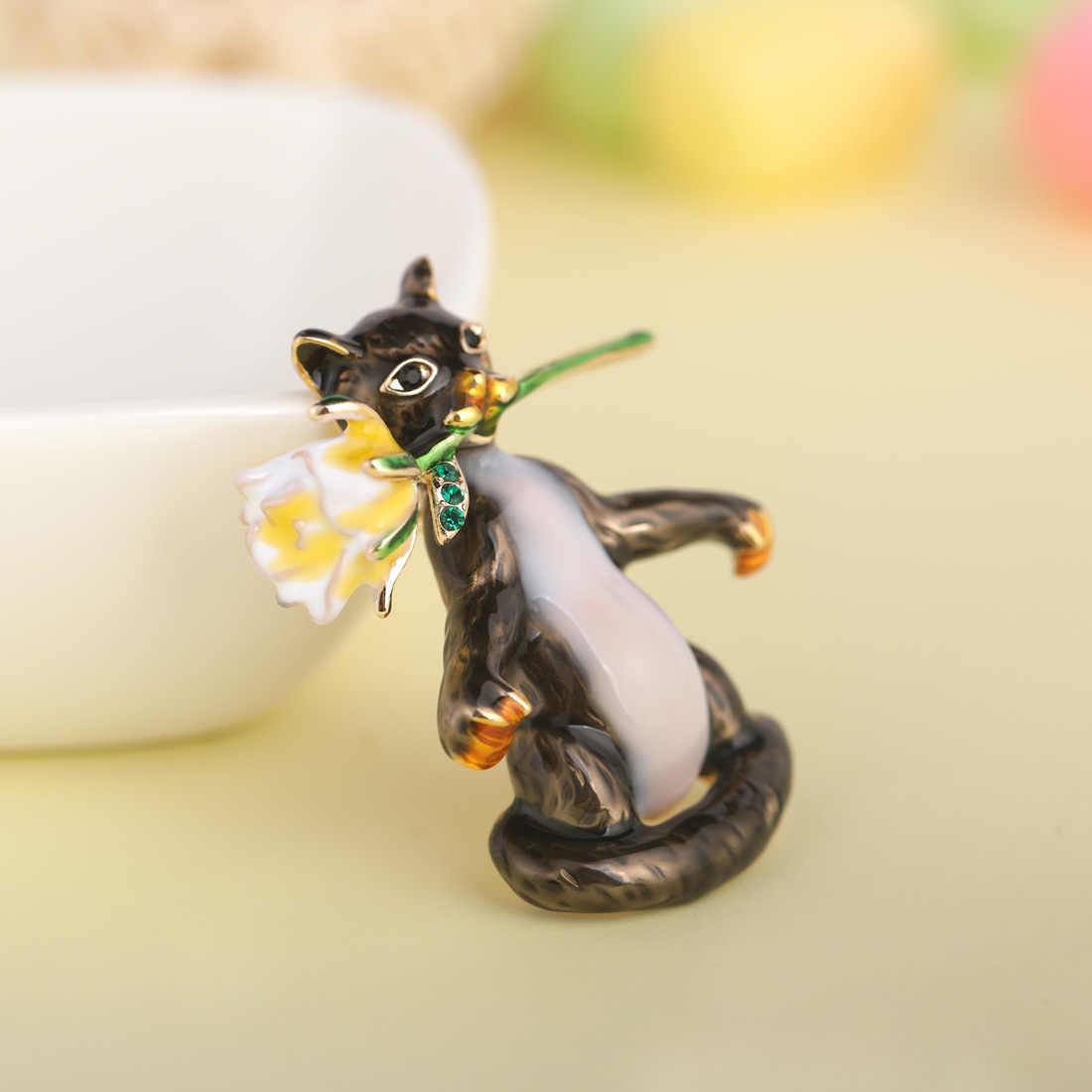 Blucome Bello Smalto Gatti Con Il Fiore Spille Per Le Donne I Bambini Regalo Signore di Modo Animale Brooch Bouquet Collare Spilli Gioielli