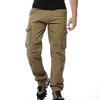 2017 mens pants Loose army tactical pants Multi pocket trousers military Solid color cargo pants for men pantalon homme Plus 46