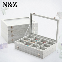 N&Z 35*24*5cm Grey Jewelry Display Box Stand Holder Place Ring/Necklace/Pendant/Earrings Jewelry Display Tray Exhibitor A255