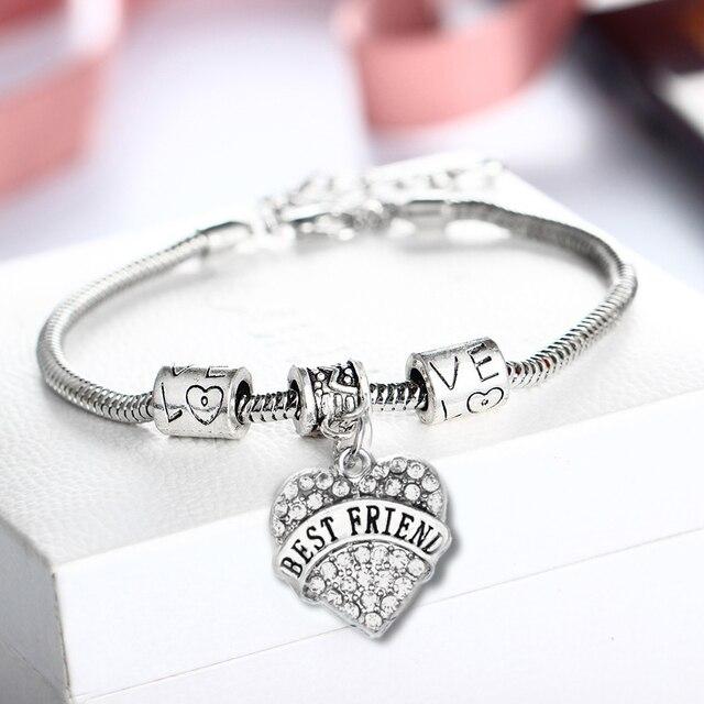 Best Friend Bracelet For Women Men Pendant Friendship Bracelets Love Heart Clear Crystal Jewelry Bff Bangle