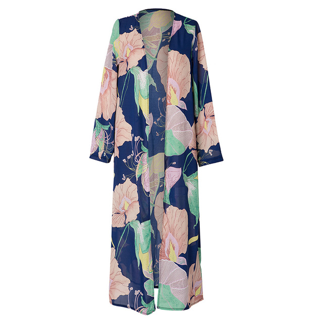 Women Chiffon Kimono Cardigan Floral Printed Long Sleeve Blouse Summer Autumn Beach Cover Up Long Tops Boho Loose Ladies Shirts
