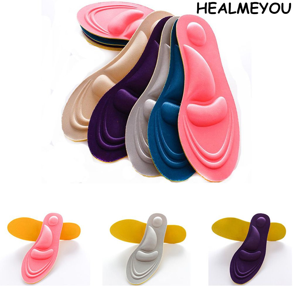 HEALMEYOU <font><b>4D</b></font> Unisex Memory Foam Custom massage <font><b>Shoe</b></font> Insoles Trainer Foot Care for men and women image