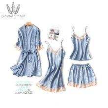 Summer Pajamas Women 4 Pieces Sets Pijama Silk Pyjamas Women Satin Sleepwear Home Clothing Home Wear