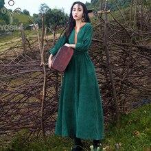 YOSIMI 2018 Autumn Winter Maxi Long Women Dress Vintage Corduroy V-neck Long Sle