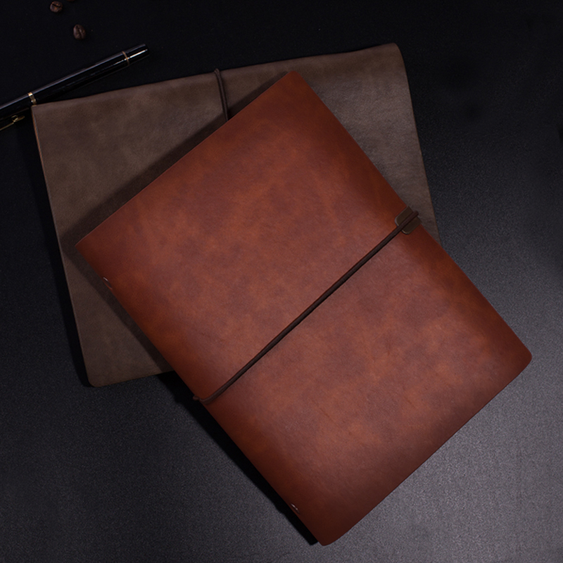 Image 4 - RuiZe vintage notebook cover travel journal diary B5 A5 leather spiral notebook planner 6 ring binder note book stationery-in Notebooks from Office & School Supplies